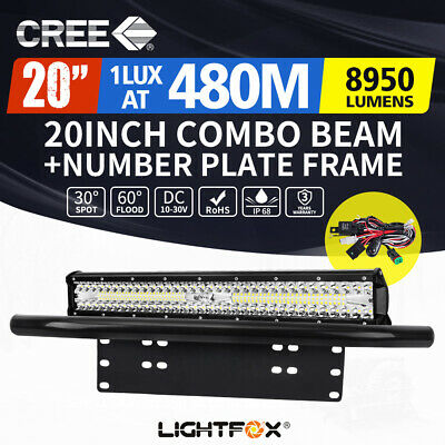 20inch Cree LED Light Bar Spot Flood Offroad Driving Work Bonus Plate Frame