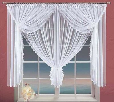 "White Voile Net Curtain with Lace Home Window Decorations 360cm x150cm, 142""x59"""