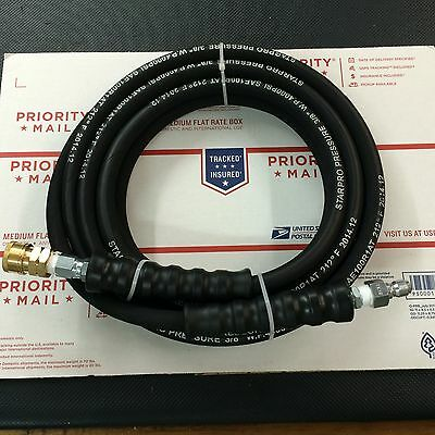 Pressure Washer Hose 25ft w/ Couplers - 4000 PSI BLACK Wire Braid