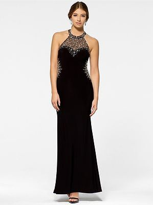 CACHE NWT Sexy Black Open Back Silver Glass Beaded PROM Gown Formal Dress 14 XL