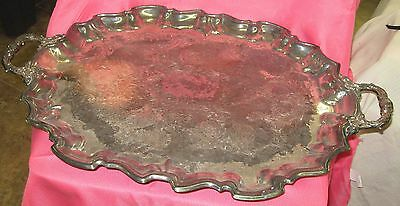 Silver Platter 25 1/2 Inches Long by 17 inches wide with legs!