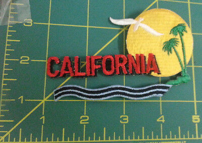 New Iron on patch - Beautiful California patch - Water and palm trees scene