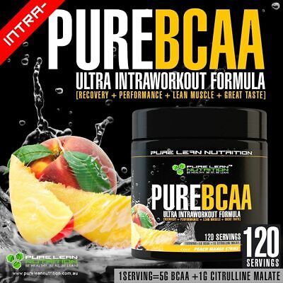 Pure Bcaa Intra Workout 120 Serves Peach Mango Branch Chain Amino Acids Recovery