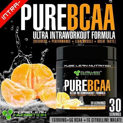 Pure Bcaa Intra Workout 30 Serves Mandarin Branch Chain Amino Acids Recovery