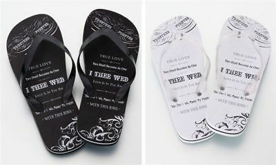 Honeymoon Gifts 2 pairs Just Married Flip Flops for Bride and Groom Sandals