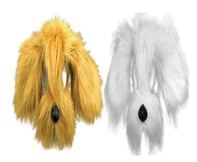 Noisy Shaggy Dog Animal Face Mask Fancy Dress - Brown White With Sound FX