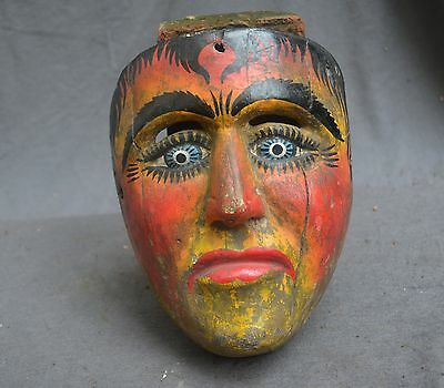 Rare antique Mexico procession wood mask, man