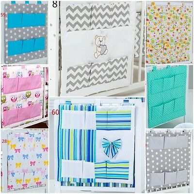 new COT BED TIDY / ORGANISER WITH SIX POCKETS LOTS OF PATTERNS AND COLOURS