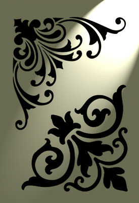 2 designs Stencil Corner Flourish Shabby Chic Vintage A4 Damask furniture French