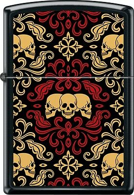 Zippo Day Of The Dead Skulls Ornament Tattoo Art Brushed Black Windproof Lighter