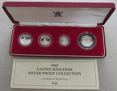 1992 Great Britain Silver 4 Coin Proof Set Collection