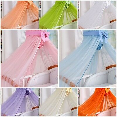 BABY COT BED CANOPY HUGE 480x170 MOSQUITO DRAPE NET WITH DECORATIVE BOW COLOURS