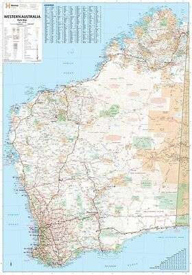 Map of Western Australia LAMINATED POSTER 100cm x 70cm State Wall Chart Road NEW
