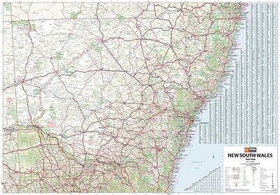 (LAMINATED) Super MAP Of New South Wales 100x140cm Nsw State Australia POSTER