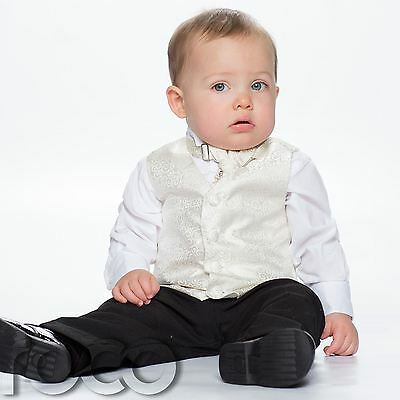 Baby Boys Ivory & Black Waistcoat Suit, Page Boy Suits, Swirl Waistcoat