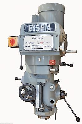 Eisen S-4AH milling machine head, NT40 spindle taper, 5 HP, 220V, 3-phase