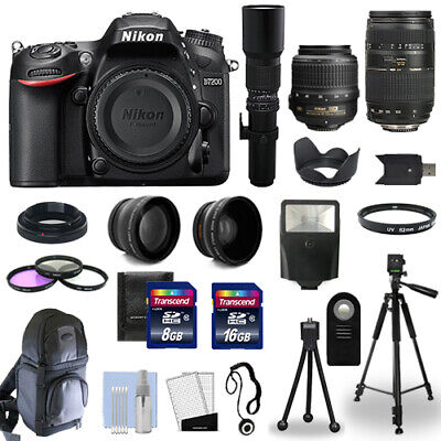 Nikon D7200 SLR Camera Body + 5 Lens Kit: 18-55mm + 70-300mm + 500mm and More