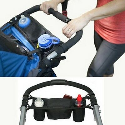 New Baby Stroller Safe Console Tray Pram Hanging Black Bottle Cup Holder Bag W