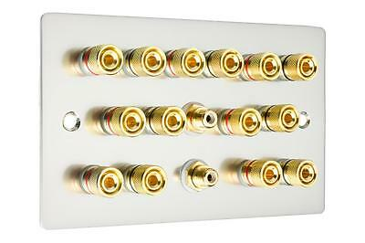 7.2 Speaker Wall Plate Audio AV Finished in Brushed Chrome / Steel