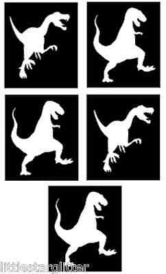 T REX dinosaur glitter tattoo stencils great for parties, PACK OF 5