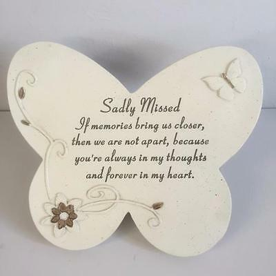SADLY MISSED Grave Memorial BUTTERFLY STONE Plaque Ornament Garden Home Tribute