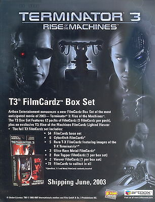 TERMINATOR 3 RISE OF THE MACHINES T3 FILMCARDZ 2003 PROMOTIONAL SALE SELL SHEET