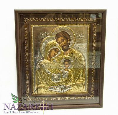 """Holy Family Sterling Silver 999' Icon With 24K Gold Handmade 15.2"""" Holy Land"""