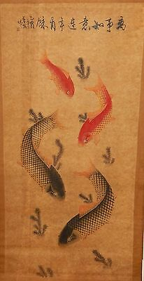 Huge Old 19Th Century Chinese Original Watercolor Koi Fish Painting Signed