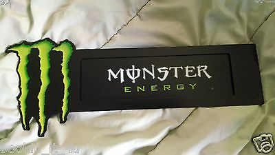 """Monster Energy Double Sided Metal Sign / display 16.5""""X 6.5"""" with suction cups"""