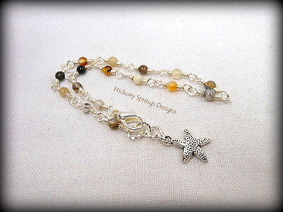 Brazilian Agate Silver Wire Wrapped Anklet ~ Any Size