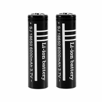 2 x 18650 Batteries 6000 3.7V Rechargeable Li-ion Battery Flashlight torch