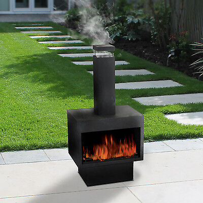 Outdoor Fire Pit Metal Chiminea Log Wood Burner Garden Patio Heater Fireplace