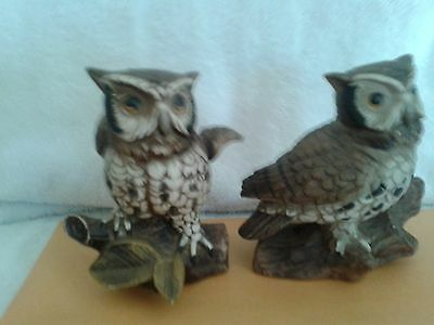 HOMCO SET OF 2 HORNED OWLS # 1114 PORCELAIN FIGURINES