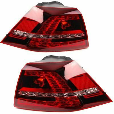Vw Golf Mk7 2013-2015 Cherry Red Led Rear Tail Lights Pair Left & Right