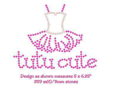 tutu cute hotfix rhinestone iron on transfer or pre cut flock