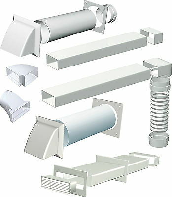 Cooker Hood Extractor Ducting Kits & Connectors 150mm diameter, 220x90mm Chanel