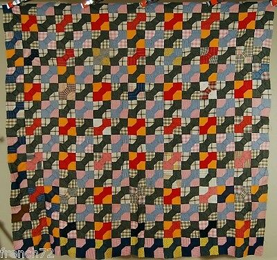 HANDSOME 1890's Bow Ties Patchwork Antique Quilt Top ~VIBRANT EARLY FABRICS!