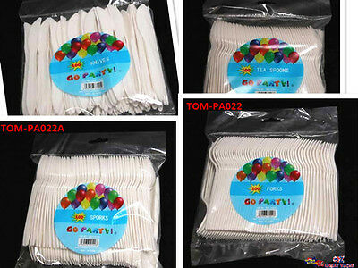 Pack of 100 Plastic Disposable Forks Sporks Knives Tea Spoons White Party Picnic