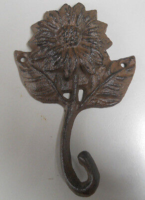6 Cast Iron Garden SUNFLOWER Coat Hooks Hook Rack Towel FLOWER 1 HOOK