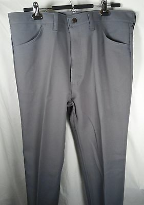 Wrangler Vintage 1970s Heather Gray Sta Prest Polyester Pants Trousers 38x32