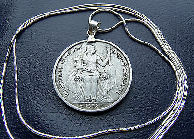 "Rare Antique 1952 French Polynesia Franc Pendant on a 30"" 925 Silver Snake Chain"