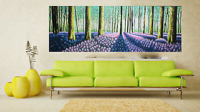 Huge art painting modern canvas tree forest By Jane COA Authentic