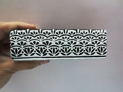 WOODEN HAND CARVED TEXTILE PRINTING FABRIC BLOCK STAMP DEEP GROOVE BORDER PRINT