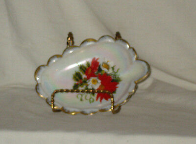 Westmoreland Christmas  Dish Milkglass  Mop W/ Poinsettia  Decoration And Gold
