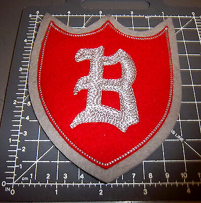 Old English B silver on Red Felt style Shield shape Embroidered Patch