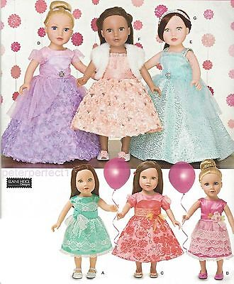 """18"""" Girl DOLL Formal Party Dresses American Sewing Pattern Simplicity 1135 UNCUT"""