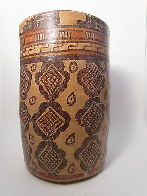 Pre-Columbian, Large Mayan painted cylinder vessel, 550 A.D. to 900 A.D.
