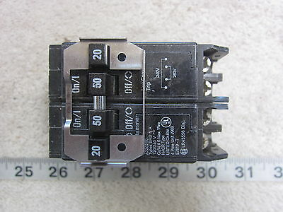 Cutler-Hammer BQ220250 Quad Circuit Breaker 20//50//50//20 2p 50amp and 20amp new
