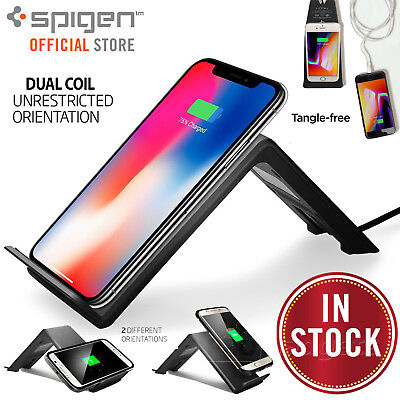 Fast Wireless QI Charger Stand Pad, Genuine Spigen F303W for Galaxy / iPhone 8 X