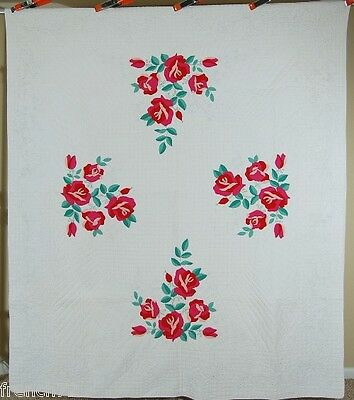 WELL QUILTED 40's Red Rose Applique Antique Quilt ~GREAT DESIGN!